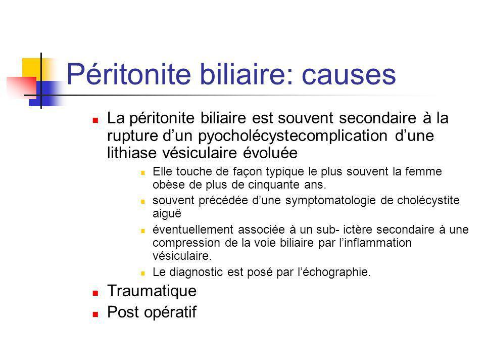 Péritonite biliaire: causes La péritonite biliaire est souvent secondaire à la rupture dun pyocholécystecomplication dune lithiase vésiculaire évoluée