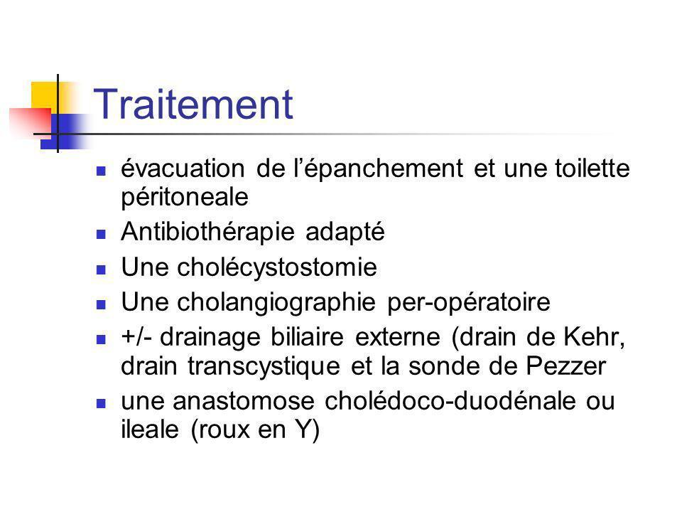 Traitement évacuation de lépanchement et une toilette péritoneale Antibiothérapie adapté Une cholécystostomie Une cholangiographie per-opératoire +/-