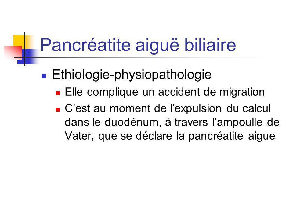 Pancréatite aiguë biliaire Ethiologie-physiopathologie Elle complique un accident de migration Cest au moment de lexpulsion du calcul dans le duodénum