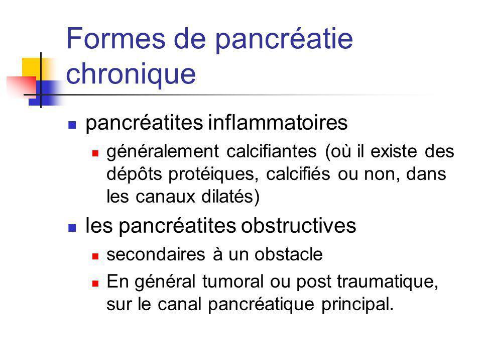 Formes de pancréatie chronique pancréatites inflammatoires généralement calcifiantes (où il existe des dépôts protéiques, calcifiés ou non, dans les c