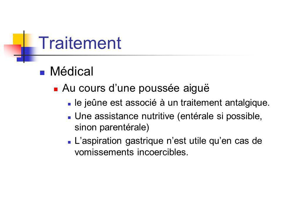 Traitement Médical Au cours dune poussée aiguë le jeûne est associé à un traitement antalgique. Une assistance nutritive (entérale si possible, sinon