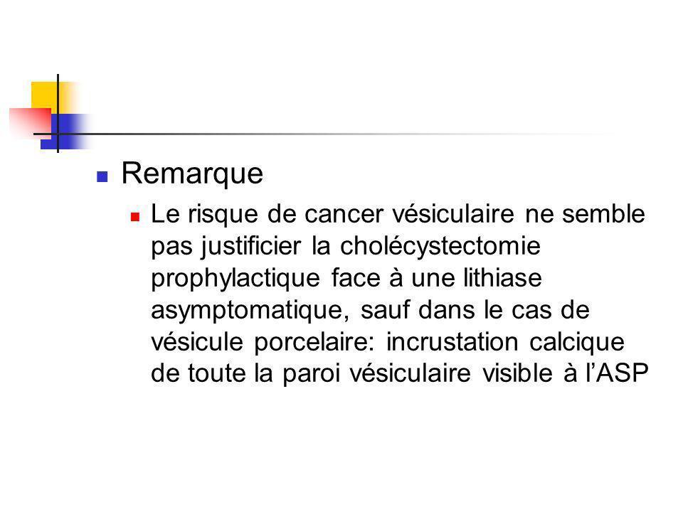 Remarque Le risque de cancer vésiculaire ne semble pas justificier la cholécystectomie prophylactique face à une lithiase asymptomatique, sauf dans le