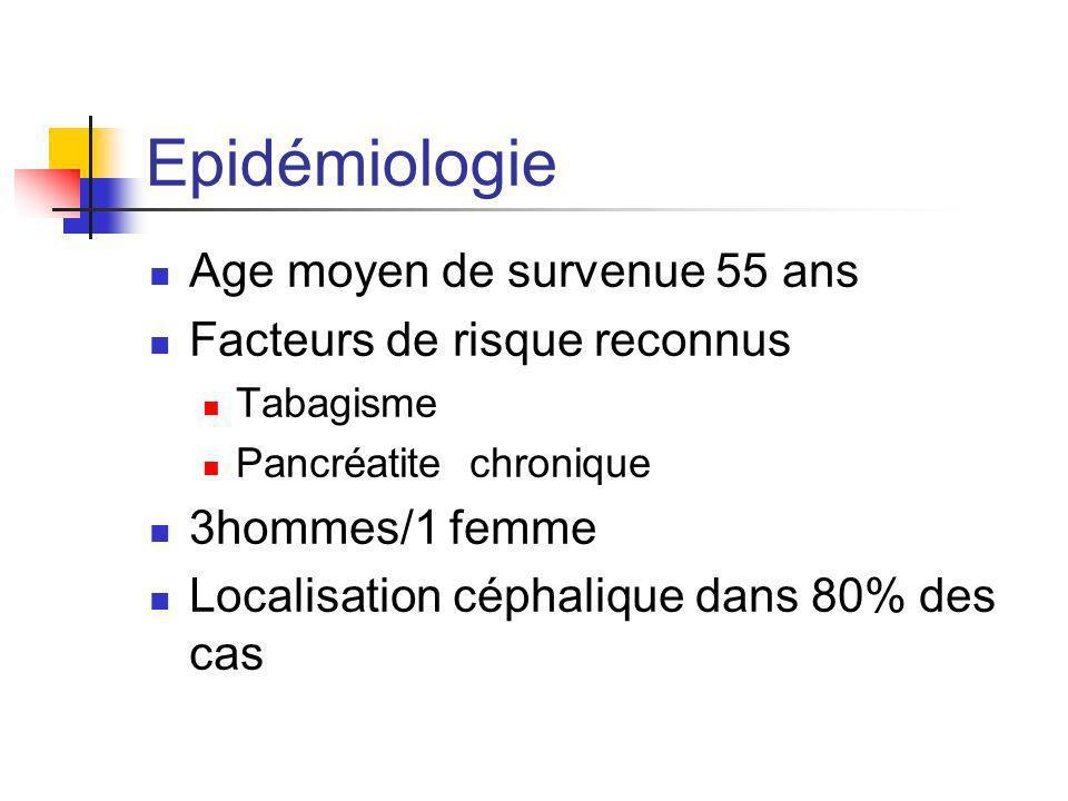 Epidémiologie Age moyen de survenue 55 ans Facteurs de risque reconnus Tabagisme Pancréatite chronique 3hommes/1 femme Localisation céphalique dans 80
