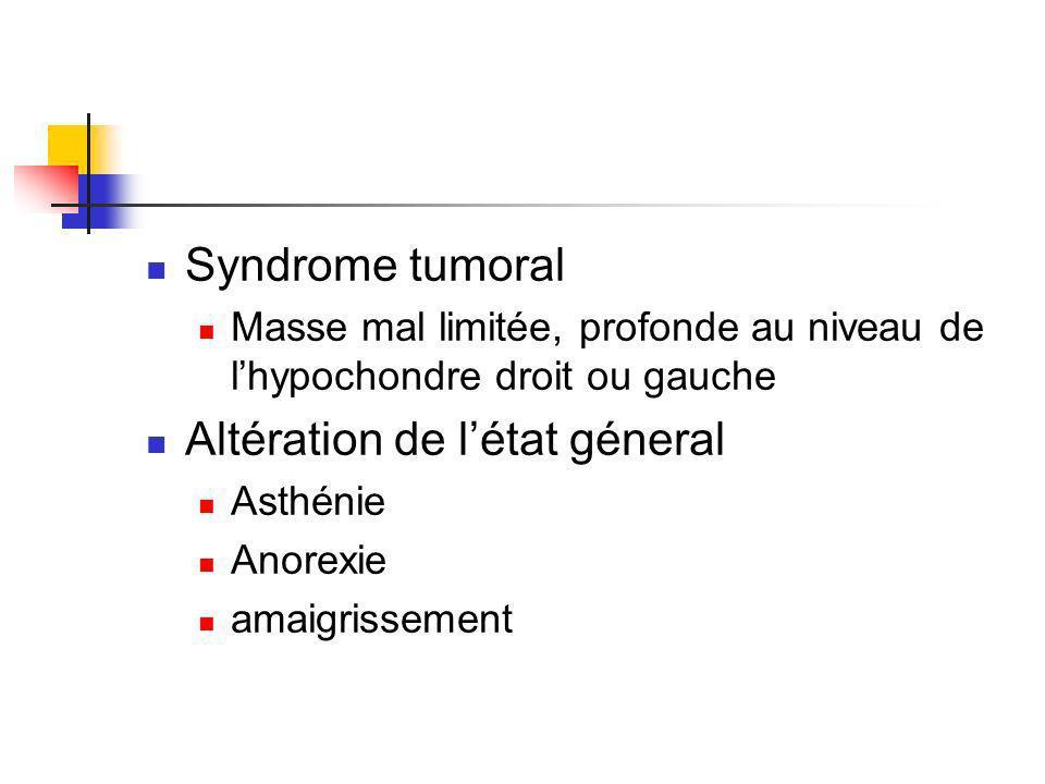 Syndrome tumoral Masse mal limitée, profonde au niveau de lhypochondre droit ou gauche Altération de létat géneral Asthénie Anorexie amaigrissement