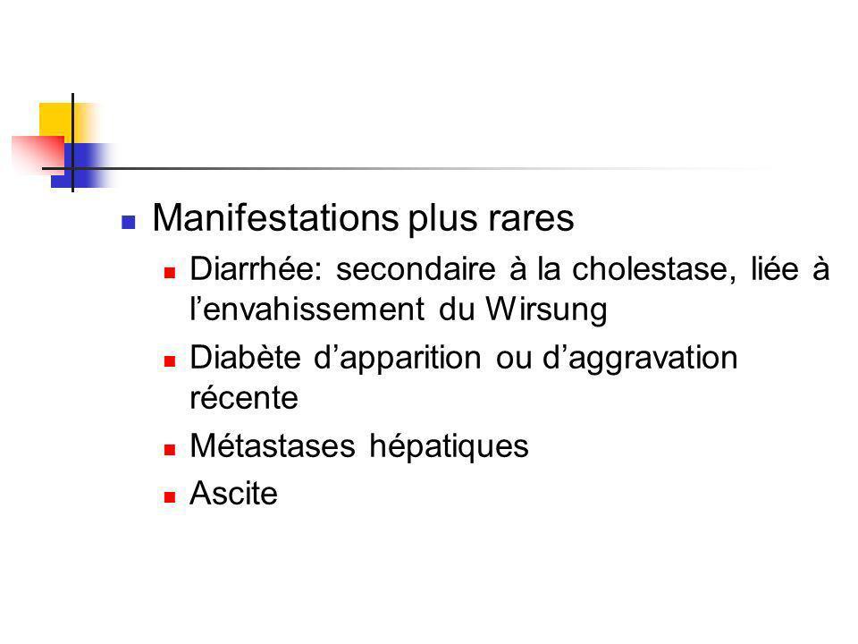 Manifestations plus rares Diarrhée: secondaire à la cholestase, liée à lenvahissement du Wirsung Diabète dapparition ou daggravation récente Métastase
