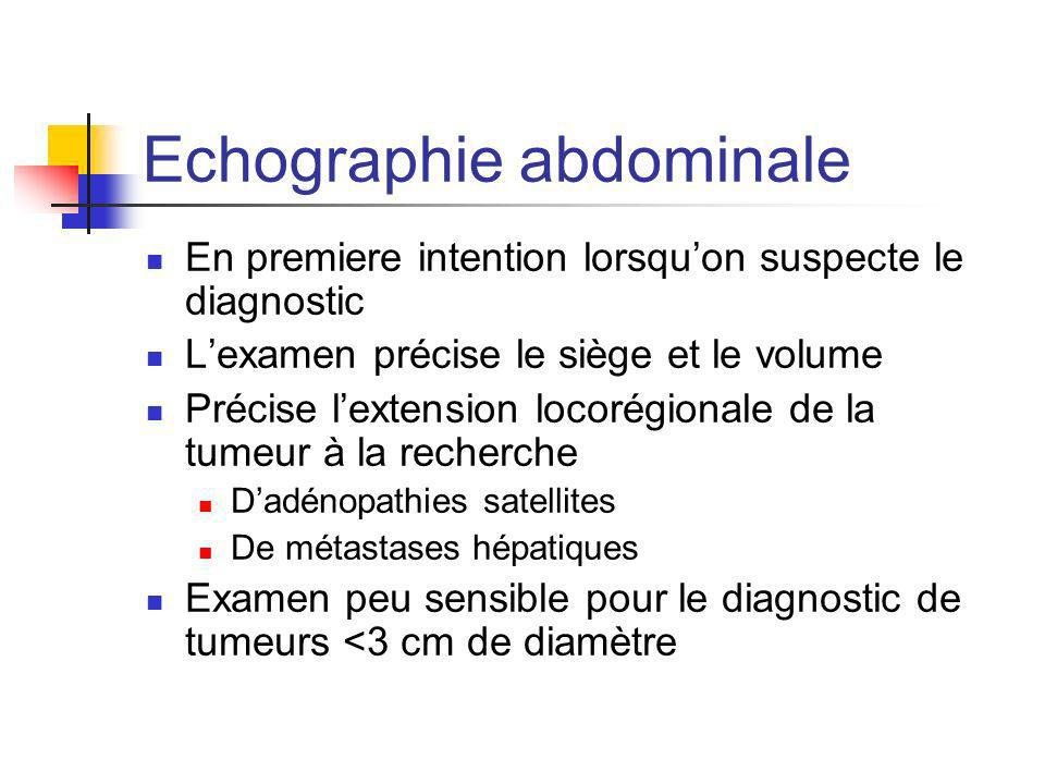Echographie abdominale En premiere intention lorsquon suspecte le diagnostic Lexamen précise le siège et le volume Précise lextension locorégionale de
