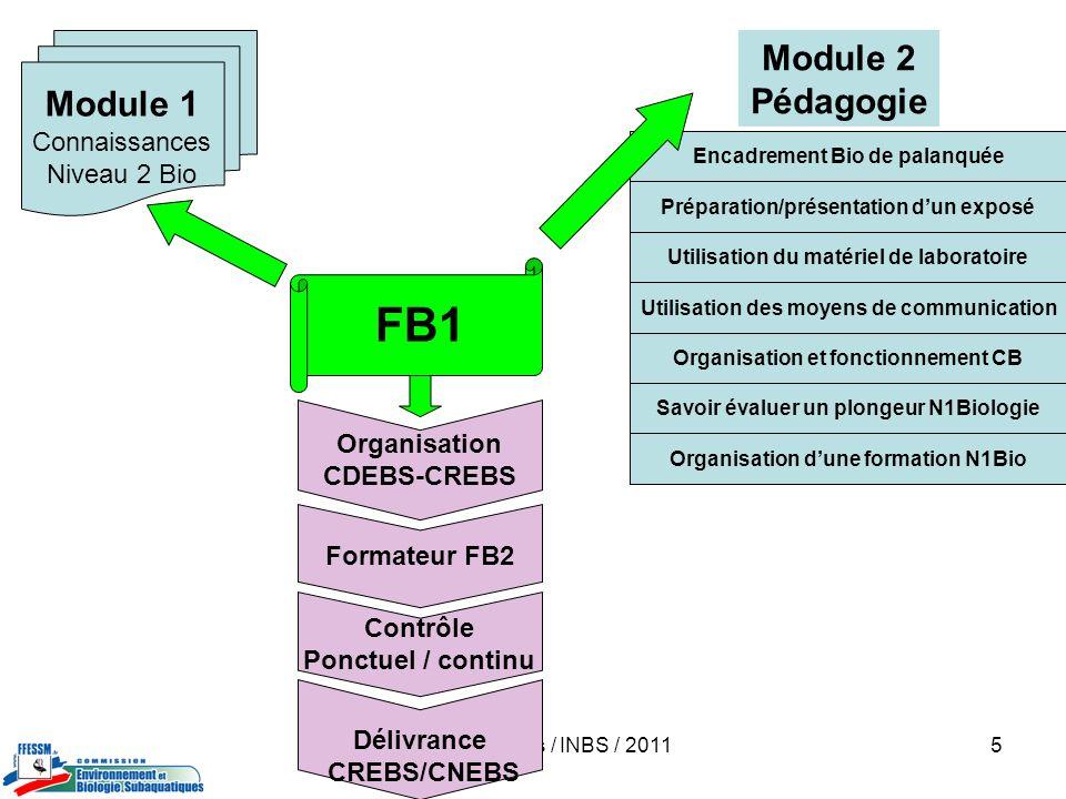 Jacques Dumas / INBS / 20116 Organisation CREBS-CNEBS Formateur FB3 Contrôle continu Délivrance CREBS-CNEBS FB2 Module 4 Coordonner la rédaction et réaliser la publication dun compte-rendu de stage Module 3 *Attestation1: capacité à organiser un stage FB1 *Attestation 2: animer et encadrer un stage FB1 Module 2 Stage préparatoire spécifique (3 j dont 2 en milieu marin) *pédagogie *organisation de plongées dobservation, présenter au groupe et coordonner un CR après plongée *organisation de stages *règlementation *techniques de laboratoire et dobservation Module 1 Evaluation des connaissances *Organisation FFESSM *Vie subaquatique