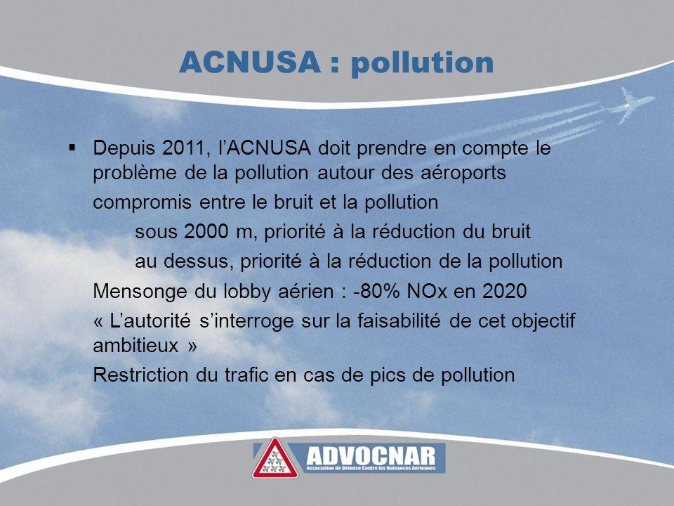 ACNUSA : pollution Depuis 2011, lACNUSA doit prendre en compte le problème de la pollution autour des aéroports compromis entre le bruit et la pollution sous 2000 m, priorité à la réduction du bruit au dessus, priorité à la réduction de la pollution Mensonge du lobby aérien : -80% NOx en 2020 « Lautorité sinterroge sur la faisabilité de cet objectif ambitieux » Restriction du trafic en cas de pics de pollution