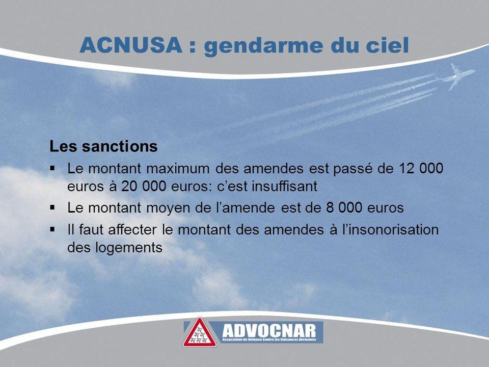 ACNUSA : gendarme du ciel Les sanctions Le montant maximum des amendes est passé de 12 000 euros à 20 000 euros: cest insuffisant Le montant moyen de