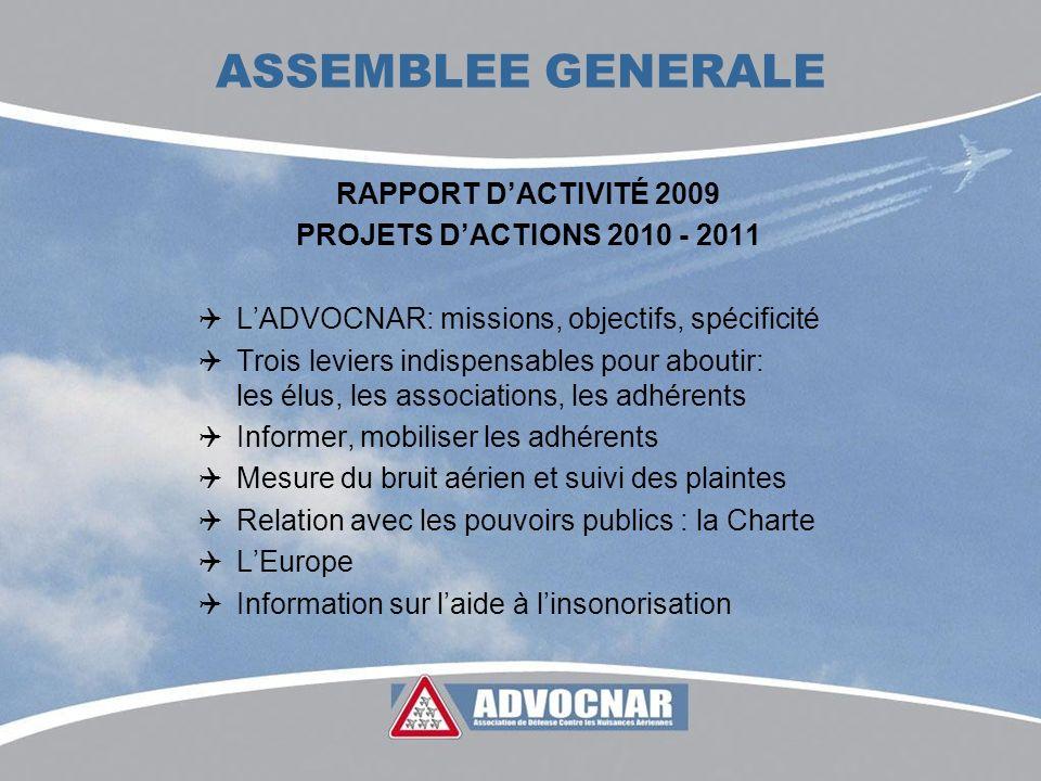 ASSEMBLEE GENERALE RAPPORT DACTIVITÉ 2009 PROJETS DACTIONS 2010 - 2011 LADVOCNAR: missions, objectifs, spécificité Trois leviers indispensables pour a