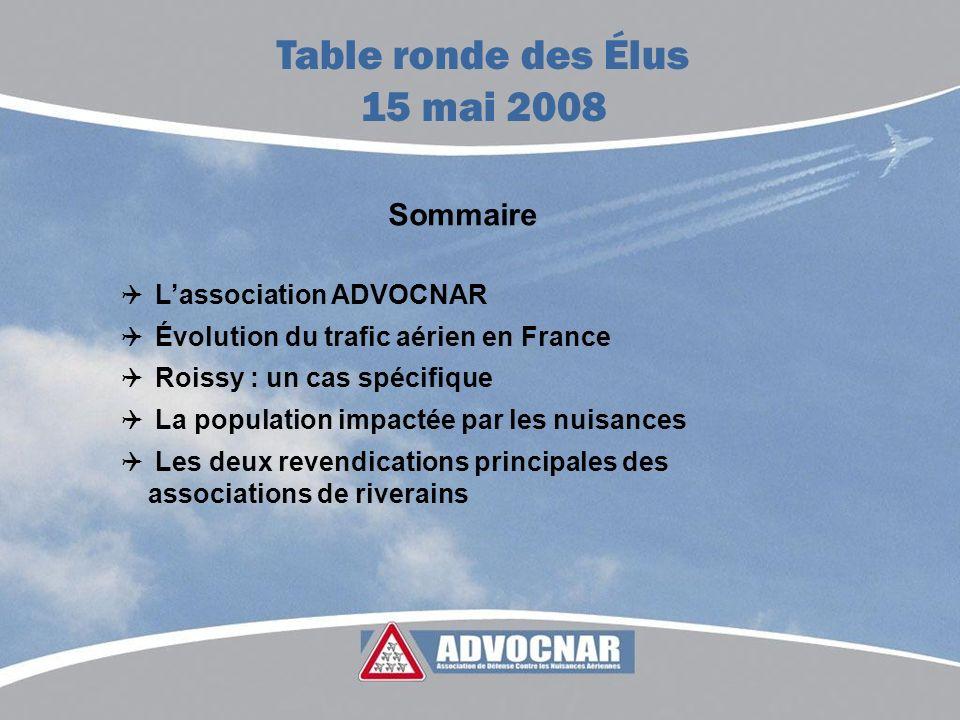 Sommaire Lassociation ADVOCNAR Évolution du trafic aérien en France Roissy : un cas spécifique La population impactée par les nuisances Les deux reven