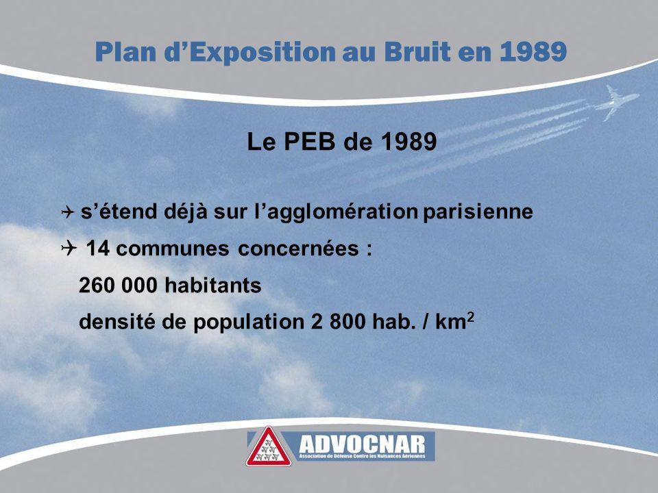 Le PEB de 1989 sétend déjà sur lagglomération parisienne 14 communes concernées : 260 000 habitants densité de population 2 800 hab. / km 2 Plan dExpo