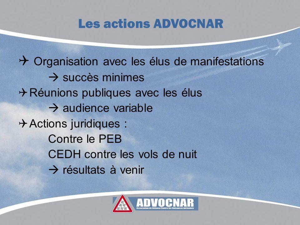 Organisation avec les élus de manifestations succès minimes Réunions publiques avec les élus audience variable Actions juridiques : Contre le PEB CEDH