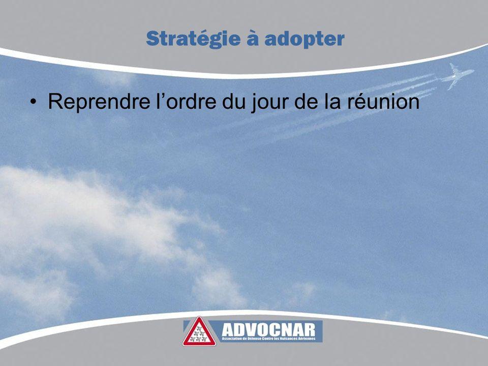 Reprendre lordre du jour de la réunion Stratégie à adopter