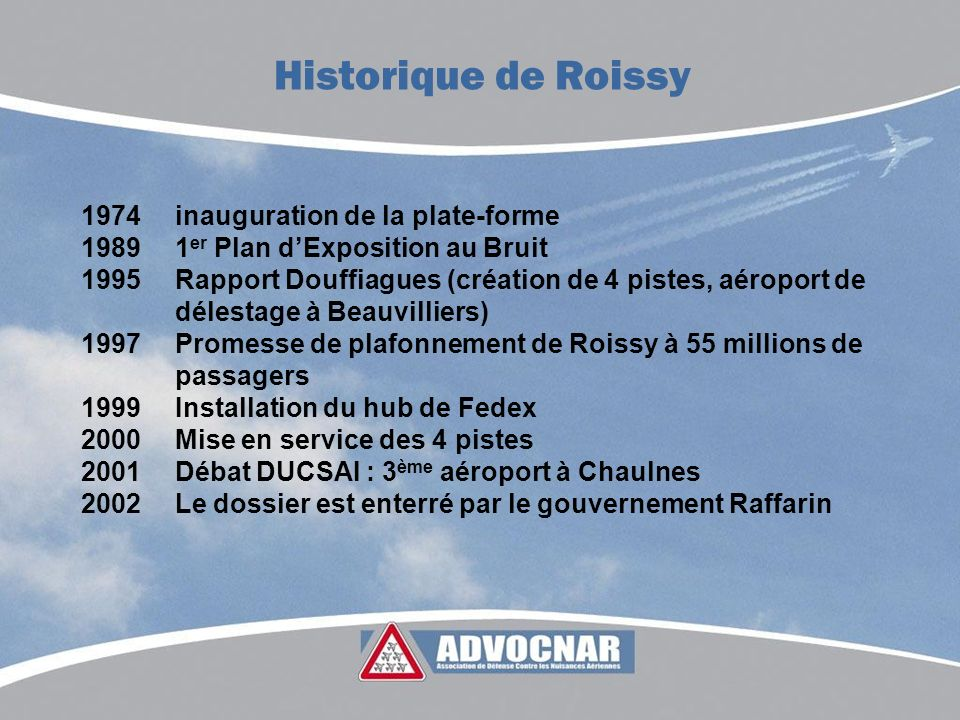1974inauguration de la plate-forme 1989 1 er Plan dExposition au Bruit 1995Rapport Douffiagues (création de 4 pistes, aéroport de délestage à Beauvill