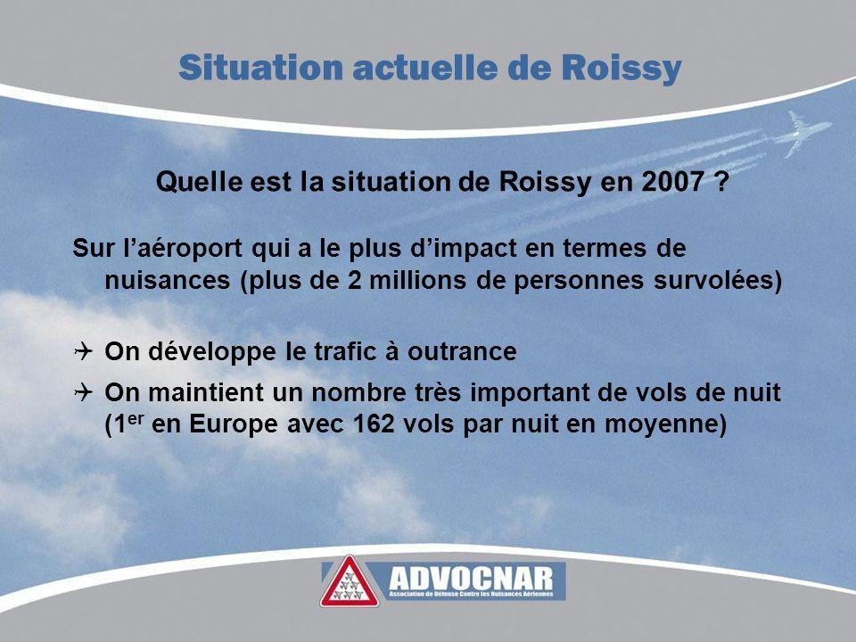 Quelle est la situation de Roissy en 2007 ? Sur laéroport qui a le plus dimpact en termes de nuisances (plus de 2 millions de personnes survolées) On