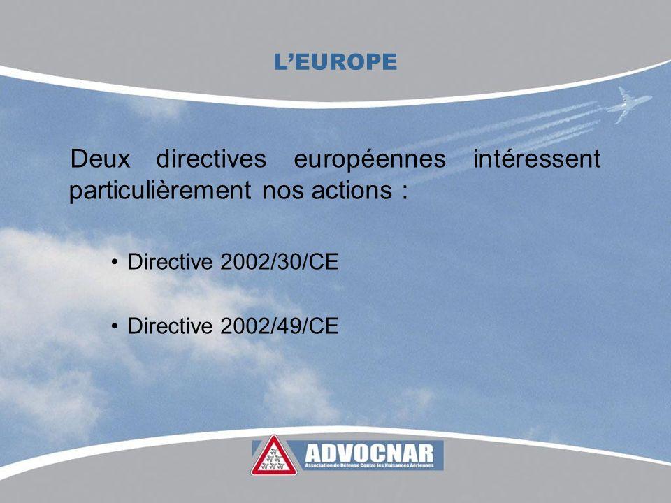 LEUROPE Deux directives européennes intéressent particulièrement nos actions : Directive 2002/30/CE Directive 2002/49/CE