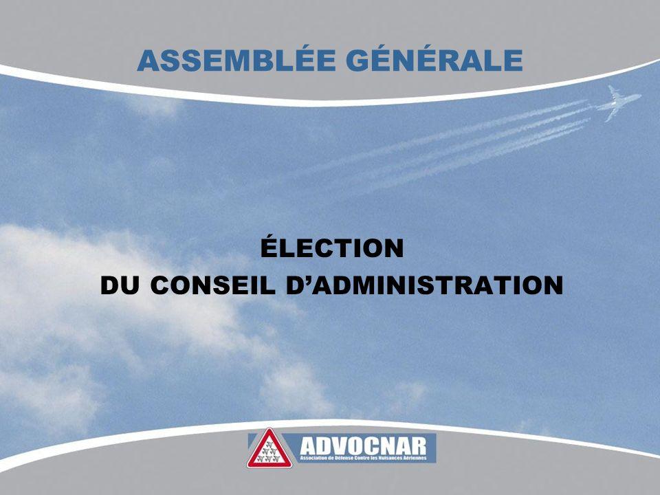 ASSEMBLÉE GÉNÉRALE ÉLECTION DU CONSEIL DADMINISTRATION