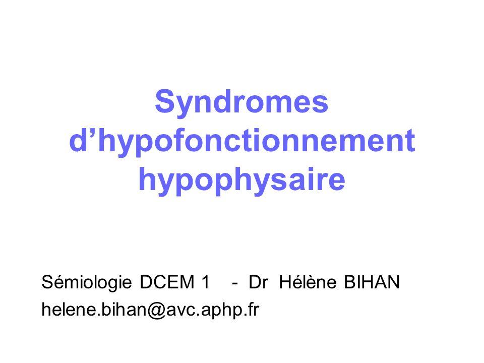 Syndromes dhypofonctionnement hypophysaire Sémiologie DCEM 1 - Dr Hélène BIHAN helene.bihan@avc.aphp.fr