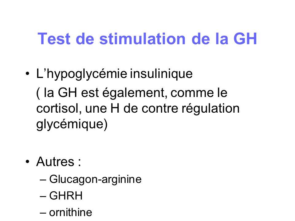 Test de stimulation de la GH Lhypoglycémie insulinique ( la GH est également, comme le cortisol, une H de contre régulation glycémique) Autres : –Gluc