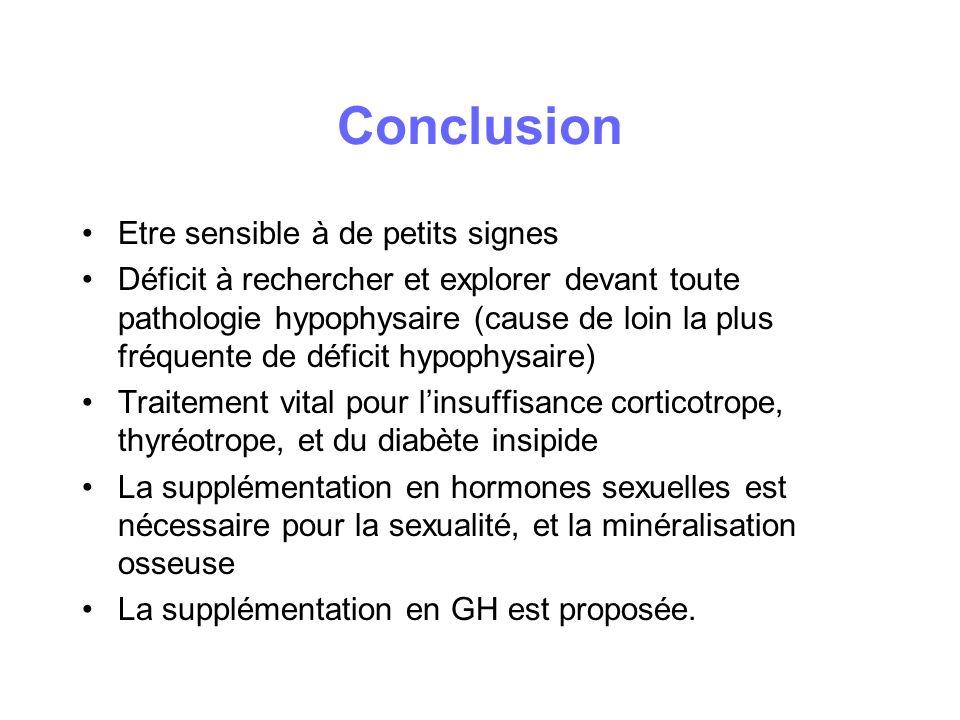 Conclusion Etre sensible à de petits signes Déficit à rechercher et explorer devant toute pathologie hypophysaire (cause de loin la plus fréquente de