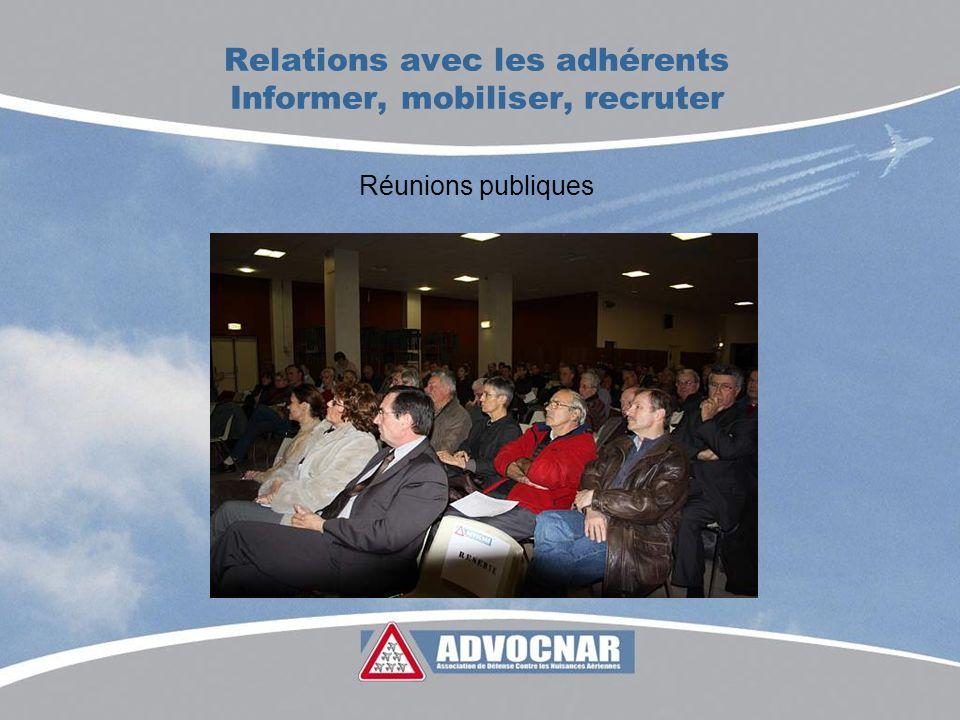 Relations avec les adhérents Informer, mobiliser, recruter Réunions publiques