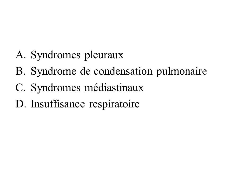 A.Syndromes pleuraux B.Syndrome de condensation pulmonaire C.Syndromes médiastinaux D.Insuffisance respiratoire