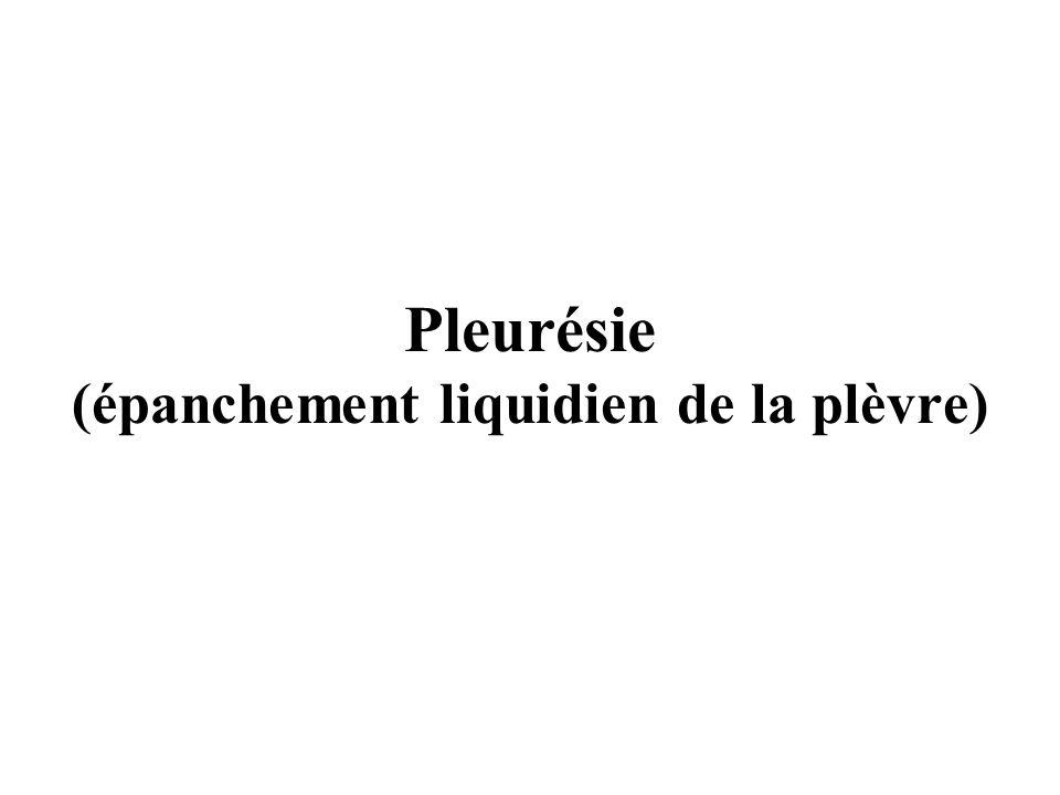 Pleurésie (épanchement liquidien de la plèvre)