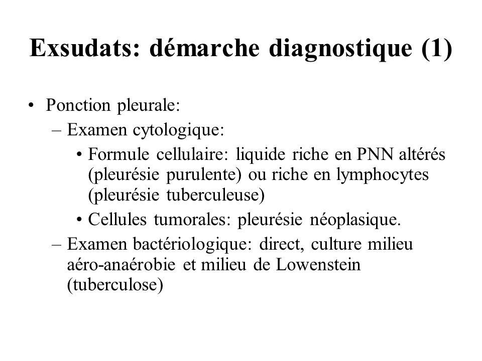 Exsudats: démarche diagnostique (1) Ponction pleurale: –Examen cytologique: Formule cellulaire: liquide riche en PNN altérés (pleurésie purulente) ou