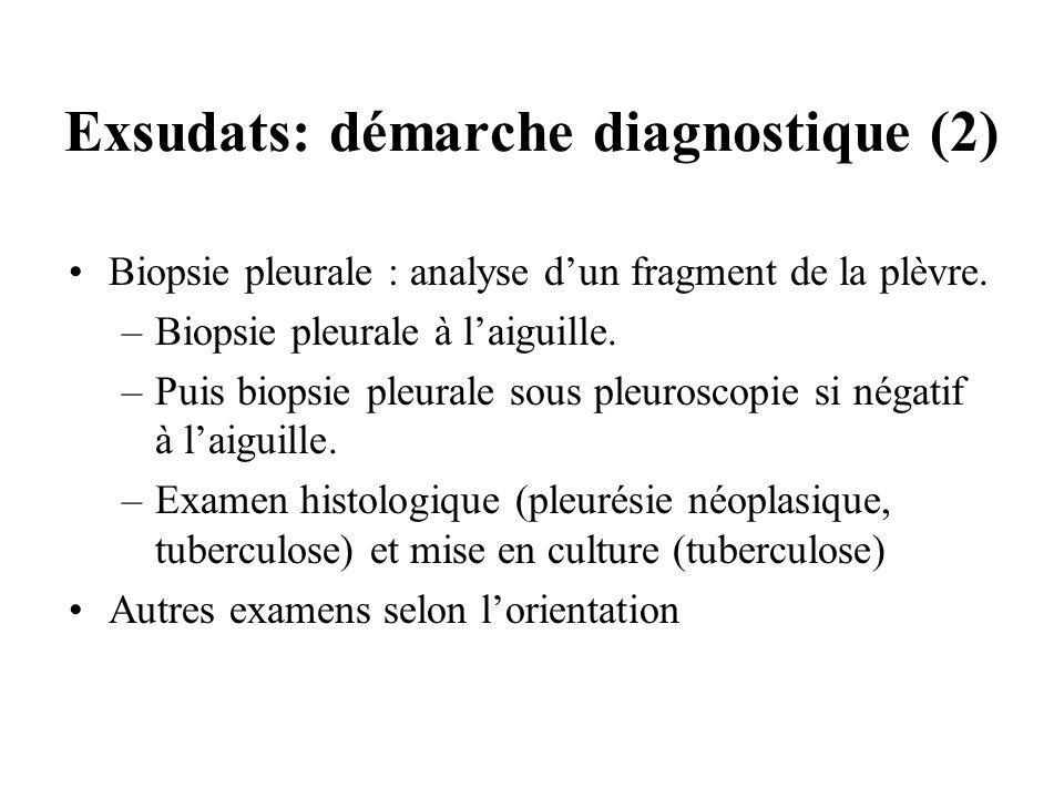 Exsudats: démarche diagnostique (2) Biopsie pleurale : analyse dun fragment de la plèvre. –Biopsie pleurale à laiguille. –Puis biopsie pleurale sous p