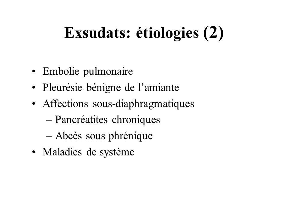 Exsudats: étiologies (2) Embolie pulmonaire Pleurésie bénigne de lamiante Affections sous-diaphragmatiques –Pancréatites chroniques –Abcès sous phréni
