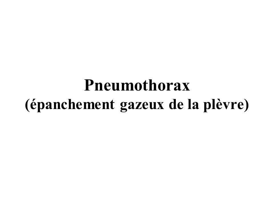 Pneumothorax (épanchement gazeux de la plèvre)