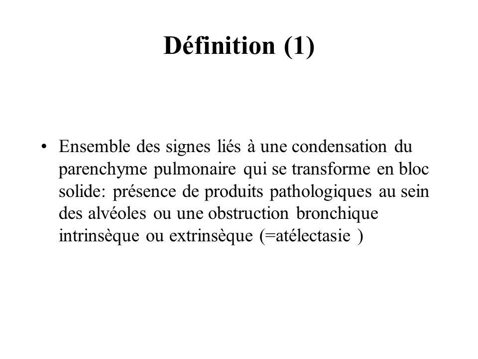 Définition (1) Ensemble des signes liés à une condensation du parenchyme pulmonaire qui se transforme en bloc solide: présence de produits pathologiqu