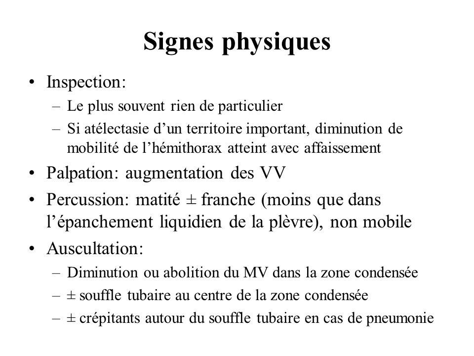 Signes physiques Inspection: –Le plus souvent rien de particulier –Si atélectasie dun territoire important, diminution de mobilité de lhémithorax atte