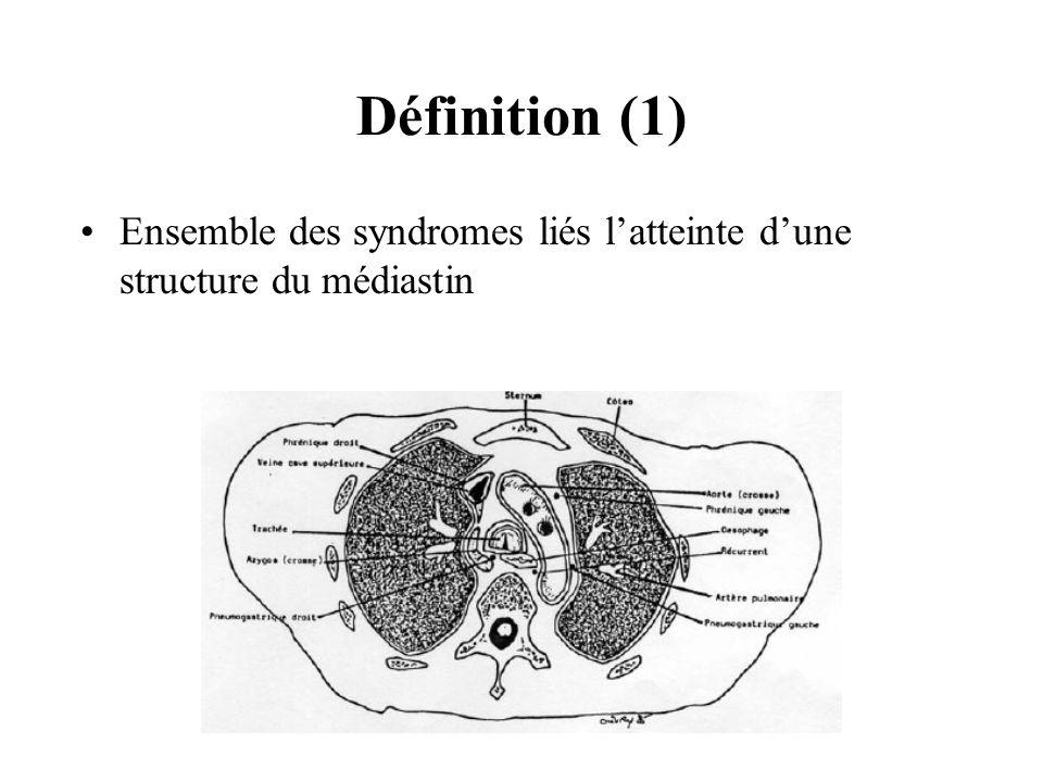 Définition (1) Ensemble des syndromes liés latteinte dune structure du médiastin