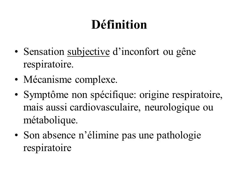 Définition Sensation subjective dinconfort ou gêne respiratoire. Mécanisme complexe. Symptôme non spécifique: origine respiratoire, mais aussi cardiov