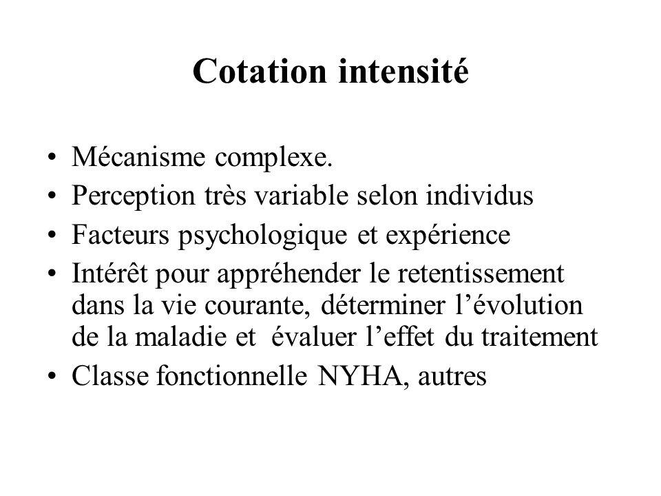 Cotation intensité Mécanisme complexe. Perception très variable selon individus Facteurs psychologique et expérience Intérêt pour appréhender le reten