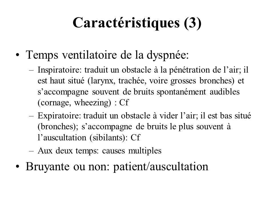 Caractéristiques (3) Temps ventilatoire de la dyspnée: –Inspiratoire: traduit un obstacle à la pénétration de lair; il est haut situé (larynx, trachée
