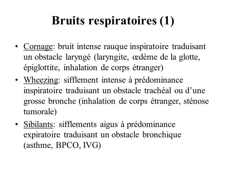 Bruits respiratoires (1) Cornage: bruit intense rauque inspiratoire traduisant un obstacle laryngé (laryngite, œdème de la glotte, épiglottite, inhala