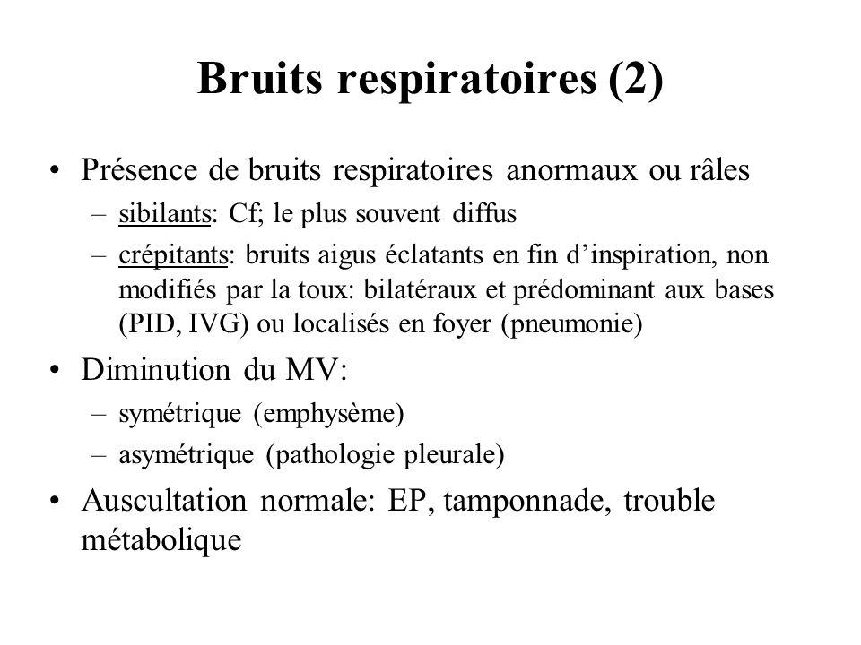 Bruits respiratoires (2) Présence de bruits respiratoires anormaux ou râles –sibilants: Cf; le plus souvent diffus –crépitants: bruits aigus éclatants