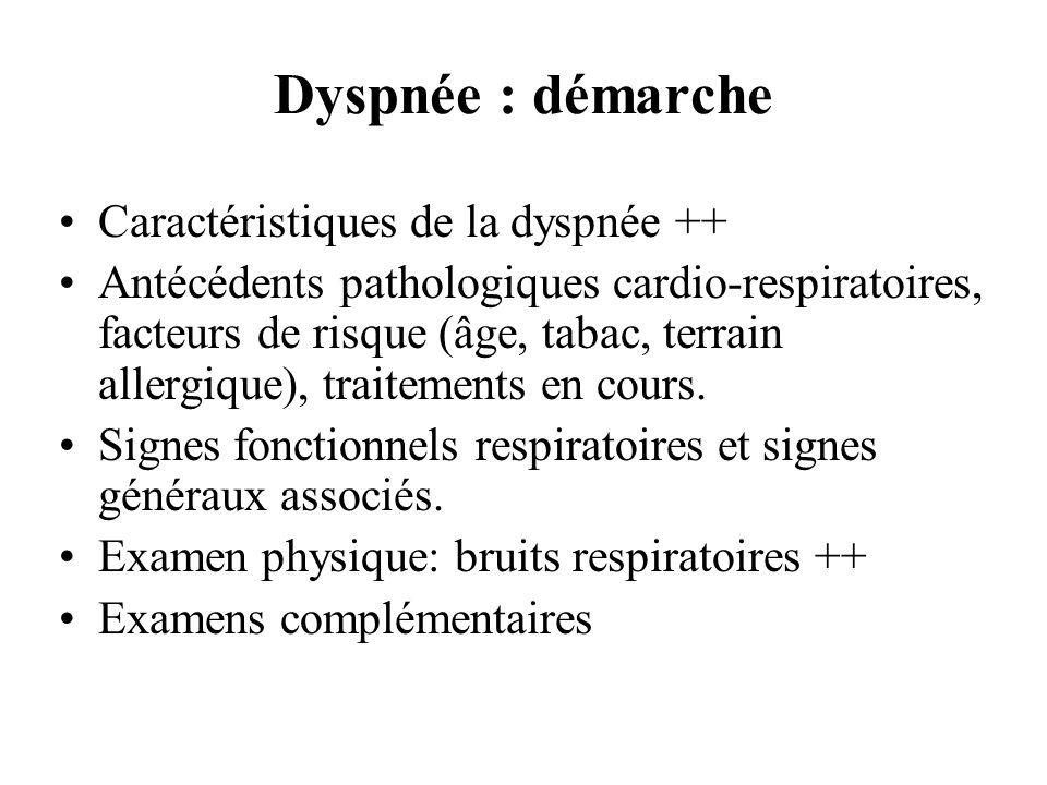 Dyspnée : démarche Caractéristiques de la dyspnée ++ Antécédents pathologiques cardio-respiratoires, facteurs de risque (âge, tabac, terrain allergiqu