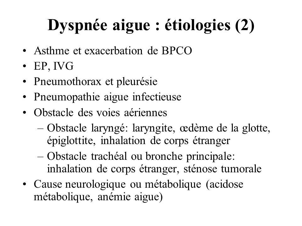 Dyspnée aigue : étiologies (2) Asthme et exacerbation de BPCO EP, IVG Pneumothorax et pleurésie Pneumopathie aigue infectieuse Obstacle des voies aéri