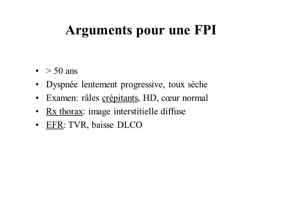 Arguments pour une FPI > 50 ans Dyspnée lentement progressive, toux sèche Examen: râles crépitants, HD, cœur normal Rx thorax: image interstitielle di