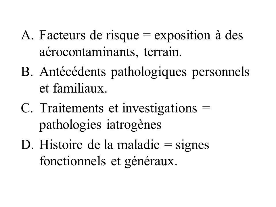 A.Facteurs de risque = exposition à des aérocontaminants, terrain. B.Antécédents pathologiques personnels et familiaux. C.Traitements et investigation