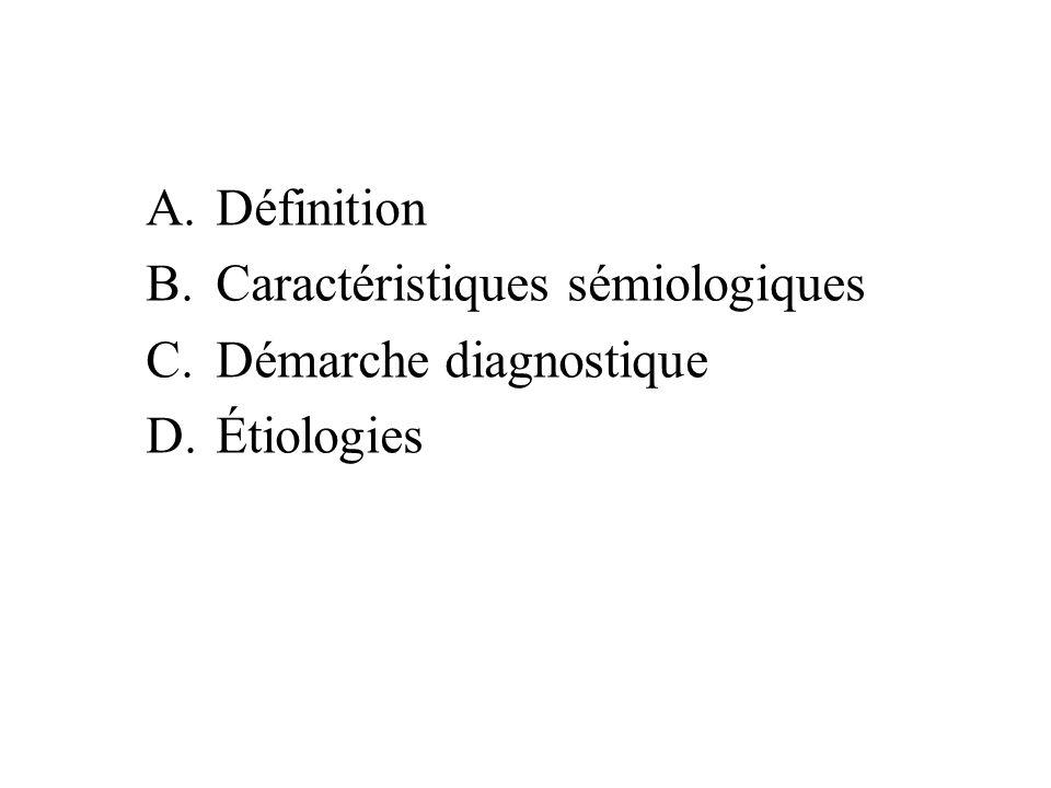 A.Définition B.Caractéristiques sémiologiques C.Démarche diagnostique D.Étiologies