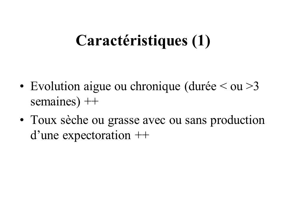 Caractéristiques (1) Evolution aigue ou chronique (durée 3 semaines) ++ Toux sèche ou grasse avec ou sans production dune expectoration ++