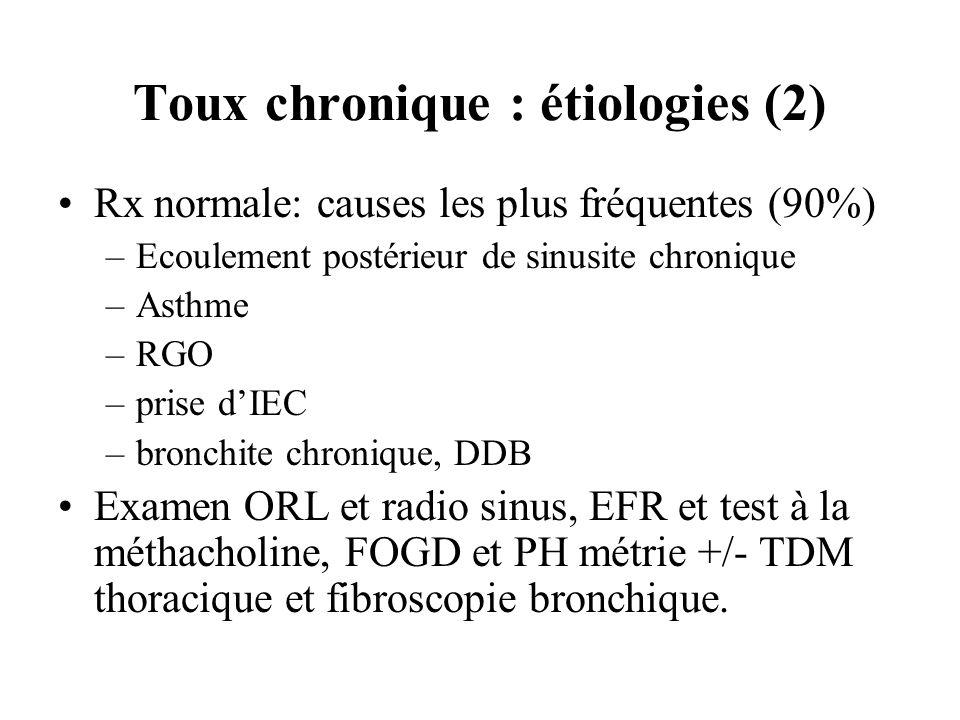 Toux chronique : étiologies (2) Rx normale: causes les plus fréquentes (90%) –Ecoulement postérieur de sinusite chronique –Asthme –RGO –prise dIEC –br