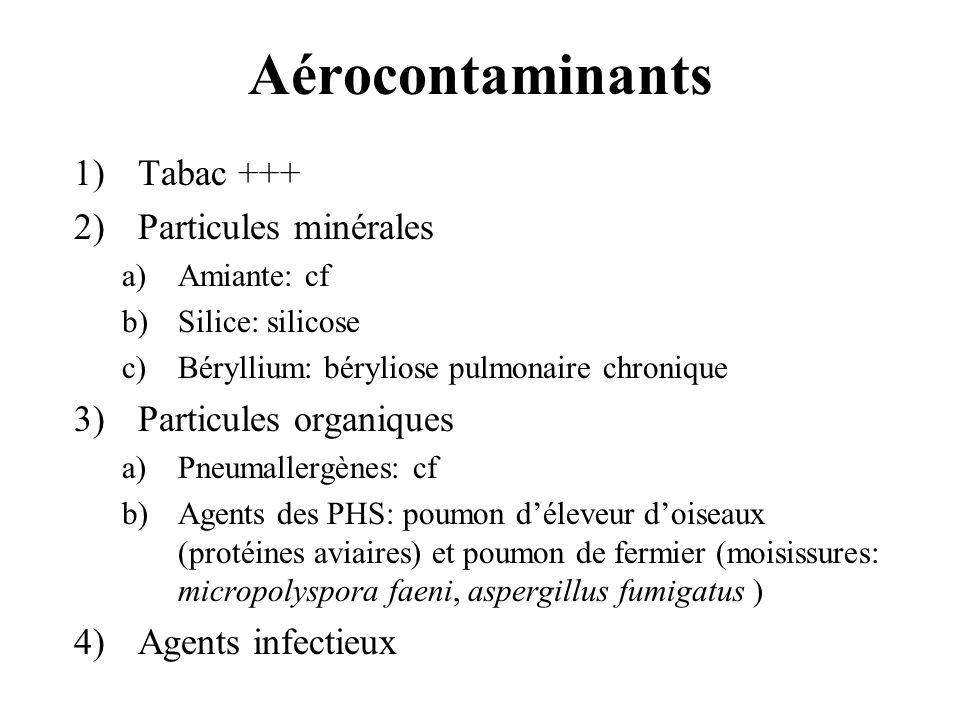 Aérocontaminants 1)Tabac +++ 2)Particules minérales a)Amiante: cf b)Silice: silicose c)Béryllium: béryliose pulmonaire chronique 3)Particules organiqu