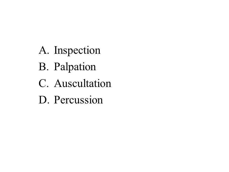 A.Inspection B.Palpation C.Auscultation D.Percussion