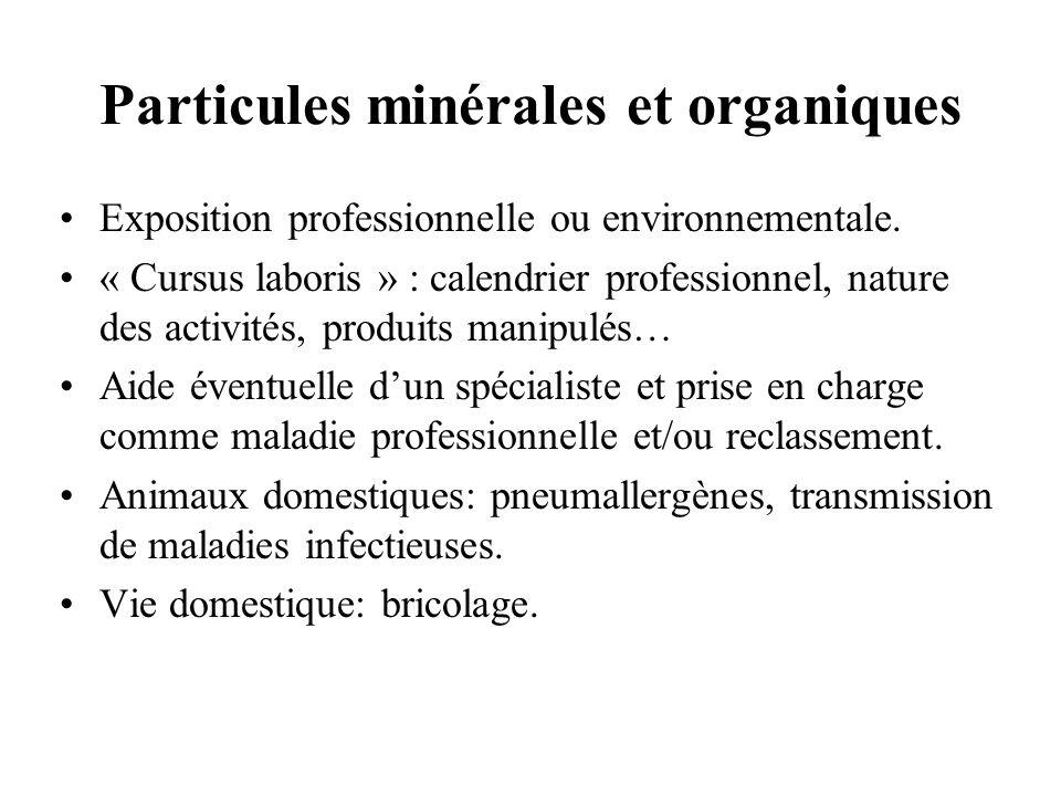 Particules minérales et organiques Exposition professionnelle ou environnementale. « Cursus laboris » : calendrier professionnel, nature des activités